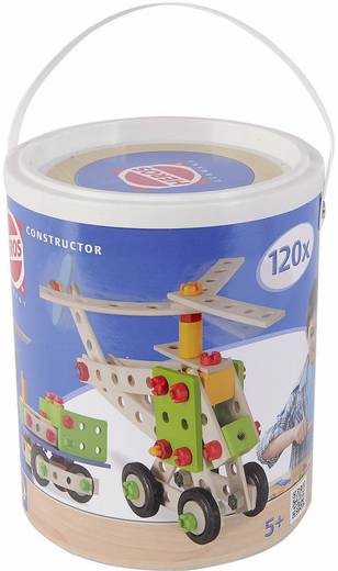 Fa építőjáték, Heros Constructor, 120 db, repülőgép/motorkerékpár/mozdony/helikopter