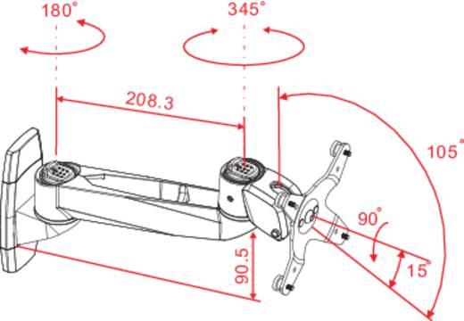 Fali monitortartó kar, dönthető/forgatható, max. 14 kg, 25,4-76,2 cm (10'' - 30''), Xergo Swivel