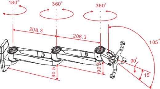 Fali monitortartó kar, dönthető/forgatható, max. 14 kg, 25,4-76,2 cm (10