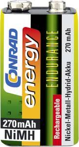 9V akku NiMH 8,4 V 270 mAh, Conrad Energy Endurance 6LR61, HR6F22, HR9V, HR22, 6LR21, 6AM6, 6LP3146, MN1604, E Block (9V-270) Conrad energy