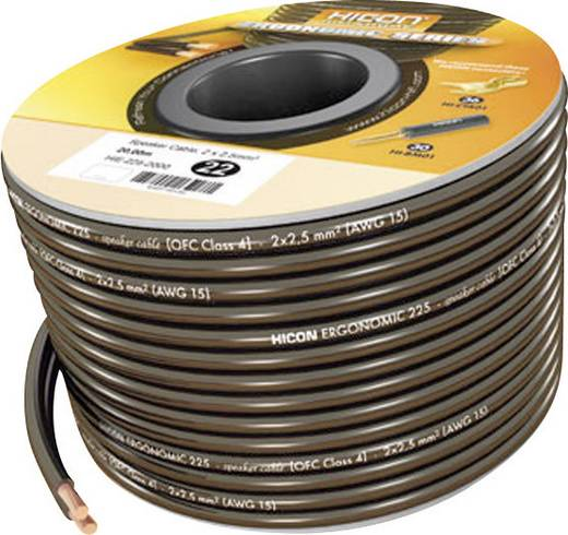 Hangszórókábel Ergonomic 2 x 1.5 mm² fekete 10 m Hicon