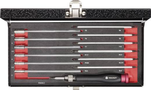 Cserélhető, hosszúszárú finommechanikai, elektronikai csavarhúzó készlet 14 részes TOOLCRAFT 409412