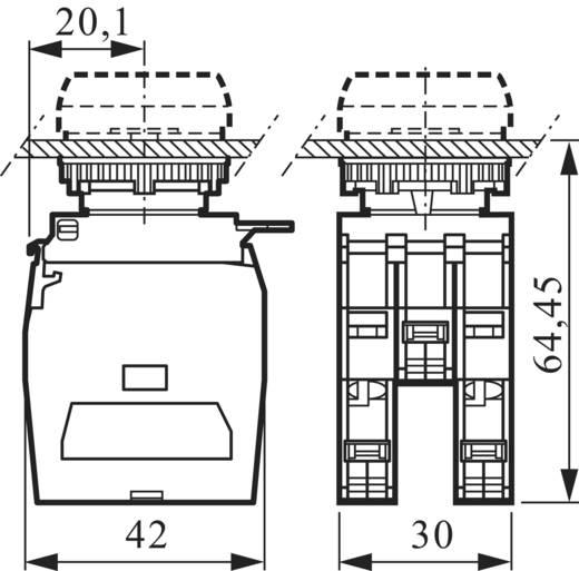 3 részes adapter érintkező elemmel LED-del, piros, 24 V/10 A, csavaros csatlakozóval, BACO 334EARL22
