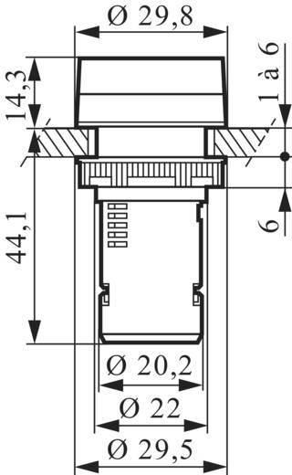 LED-es kompakt jelzőlámpa 130 V, piros, Baco L20SA10M