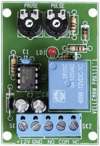 Intervallum időzítő modul 12 V/DC 3 A impulzus idő: 0,5 - 5 mp / szünet idő: 2,5 - 60 mp, Velleman VM136 Velleman