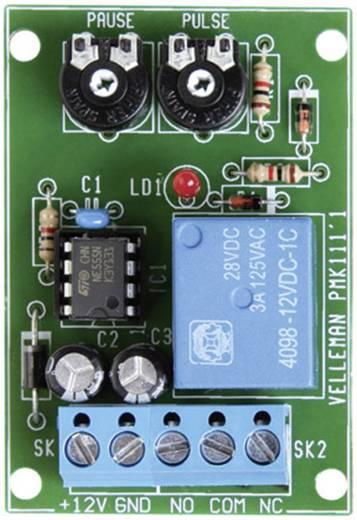 Intervallum időzítő modul 12 V/DC 3 A impulzus idő: 0,5 - 5 mp / szünet idő: 2,5 - 60 mp, Velleman VM136