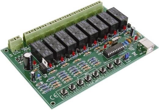 Velleman 8 csatornás USB relékártya Modul 9 - 10 V/AC vagy 12 - 14 V/DC Kimeneti teljesítmény 16 A 8 db relé kimenet