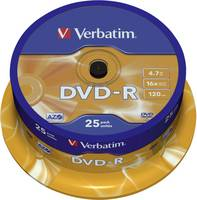 Írható DVD-R 4.7 GB Verbatim 43522 25 db Karcmentes bevonat (43522) Verbatim