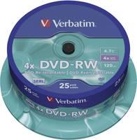 Írható DVD-RW 4.7 GB Verbatim 43639 25 db Újraírható (43639) Verbatim