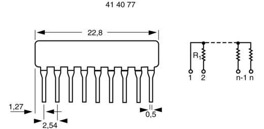 Ellenállás hálózat 220 Ω SIP-8+1 0.125 W 1 db