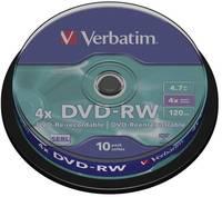 Írható DVD-RW 4.7 GB Verbatim 43552 10 db Újraírható (43552) Verbatim