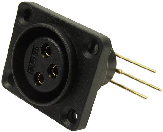 XLR csatlakozó peremes hüvely, hajlított érintkezők pólusszám: 3 fekete Cliff CP30072 1 db