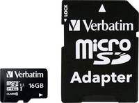 Mikro SDHC kártya 16 GB Verbatim MICRO SDHC 16GB CL 10 ADAP Class 10 SD adapterrel Verbatim