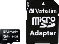 mikro SDXC kártya 64 GB Verbatim MICRO SDXC 64GB CL 10 ADAP Class 10 SD adapterrel (44084) Verbatim