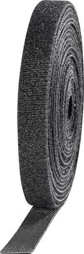 Tépőzár kötegeléshez bolyhos és horgos fél 3 m x 10 mm Fekete TOOLCRAFT KL10X3000C 4 tekercs