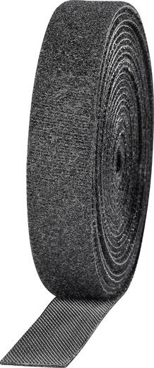 Tépőzár kötegeléshez bolyhos és horgos fél 3 m x 16 mm Fekete TOOLCRAFT KL16X3000C 2 tekercs