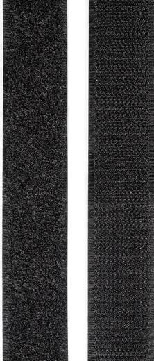 Tépőzár felragasztáshoz bolyhos és horgos fél 2 m x 25 mm Fekete TOOLCRAFT KL25X2000C 1 pár