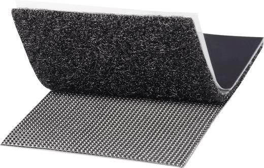 Tépőzár felragasztáshoz bolyhos és horgos fél, Extra erős 100 mm x 50 mm Fekete TOOLCRAFT KL50X100SC 1 pár