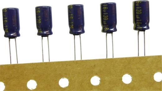Elektrolit kondenzátor, radiális, álló, RM 3,5 mm 120 µF 35 V 20 % Ø 8 x 11,5 mm 105° Panasonic EEUFC1V121
