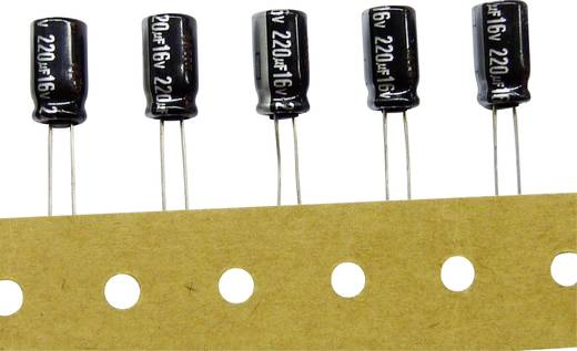 Elektrolit kondenzátor, radiális, álló, RM 5 mm 2200 µF 25 V/DC 20 % Ø 12,5 x 25 mm Panasonic ECA1EHG222B