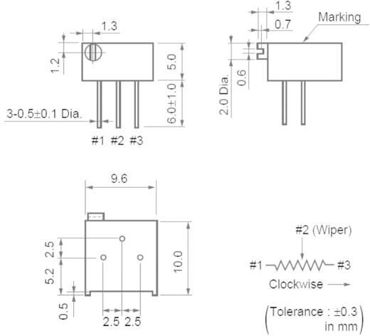 Cermet trimmer potméter 25 menetes, lineáris, 0,5 W 5 kΩ 9000° Murata PV36P502C01B00