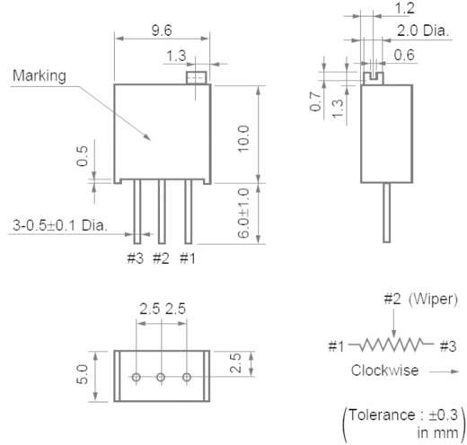 Cermet trimmer potméter 25 menetes, lineáris, 0,5 W 100 Ω 9000° Murata PV36W101C01B00