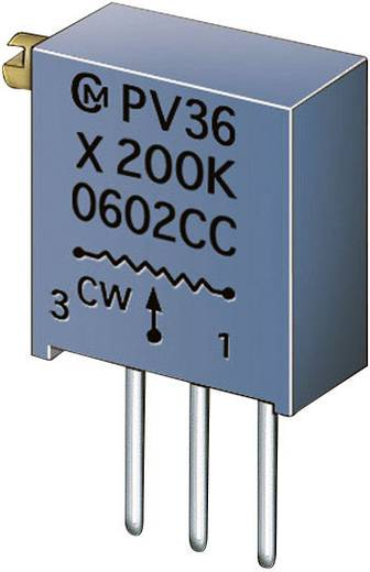 Cermet trimmer potméter 25 menetes, lineáris, 0,5 W 200 Ω 9000° Murata PV36X201C01B00