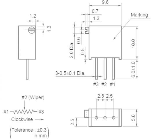 Cermet trimmer potméter 25 menetes, lineáris, 0,5 W 2 kΩ 9000° Murata PV36X202C01B00
