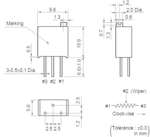 Cermet trimmer potméter 25 menetes, lineáris, 0,5 W 100 Ω 9000° Murata PV36Y101C01B00