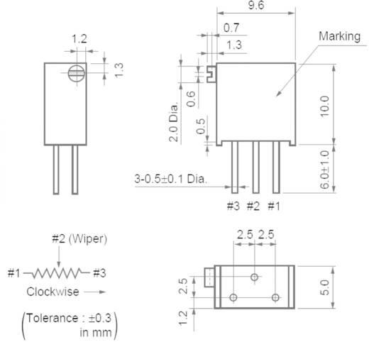 Cermet trimmer potméter 25 menetes, lineáris, 0,5 W 5 kΩ 9000° Murata PV36Z502C01B00