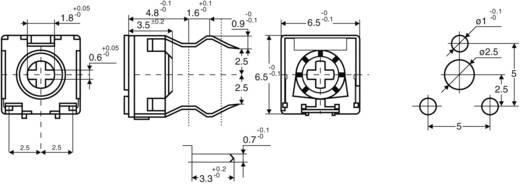 Miniatűr trimmer potméter, lineáris, fekvő, felül állítható, 0,1 W 100 kΩ 215° 235° CA6 V