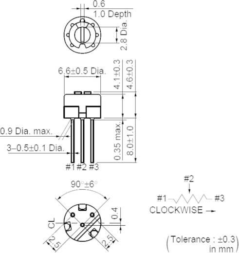 Lineáris cermet trimmer potméter, felső állítással 0.5 W 10 kΩ Murata PV32H103A01B00