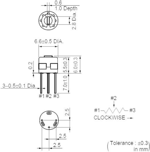 Lineáris cermet trimmer potméter, felső állítással 0.5 W 10 kΩ Murata PV32P103A01B00