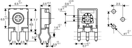 Miniatűr lineáris trimmer potméter, álló kivitelű, oldalsó állítással 0.1 W 10 kΩ 215 ° 235 ° CA6 H