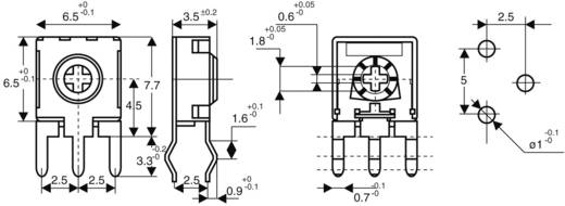 Miniatűr lineáris trimmer potméter, álló kivitelű, oldalsó állítással 0.1 W 50 kΩ 215 ° 235 ° CA6 H