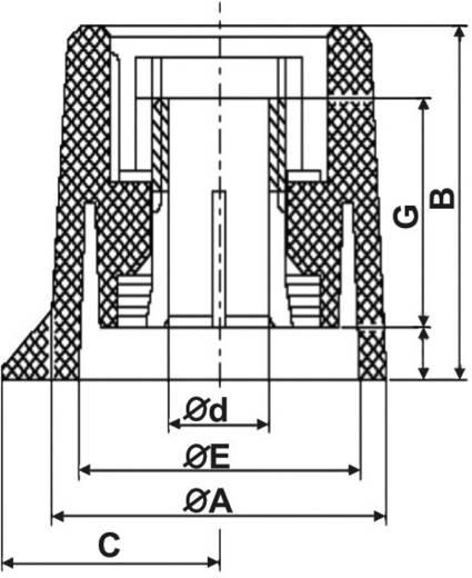 Poti forgatógomb, fekete, Ø6,35 mm, 20 x 17 x 13 mm