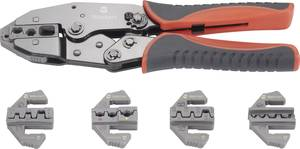 Racsnis krimpelő fogó sarukhoz, érintkezőkhöz, 5 db cserélhető betéttel Toolcraft 430461 TOOLCRAFT