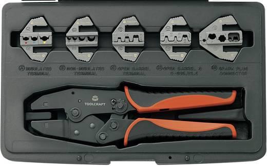 Racsnis krimpelő fogó sarukhoz, érintkezőkhöz, 5 db cserélhető betéttel Toolcraft 430461