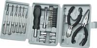 25 részes barkács szerszámkészlet, órás csavarhúzó, dugókulcs készlet, lapos- és csípőfogó, Basetech 432547 (432547) Basetech
