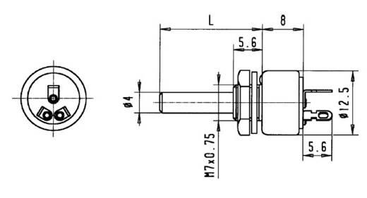 Forgó potméter lineáris IP65 M7 x 0,75 mm 47 kΩ 1 W ± 20 % Cermet