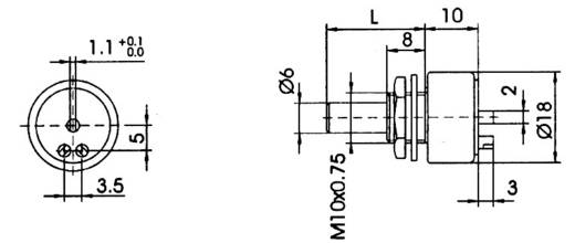 Cermet forgó potméterek IP 65 100 kOhm C18