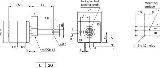 Sztereó potenciométer, speciális Balance, 10 kΩ 0,05 W ± 20 %, ALPS RK27112 10KM+N 401618