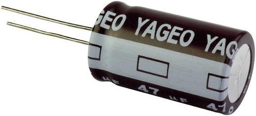 Elektrolit kondenzátor, radiális, álló, 105°C RM 5 mm 220 µF 63 V 20 % Ø 10 x 15 mm Yageo SE063M0220B5S-1015