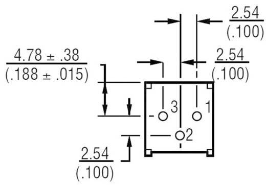 Miniatűr lineáris trimmer potméter, fekvő kivitelű, felső állítással 0.5 W 5 kΩ 310 ° Bourns 3386P-1-502LF