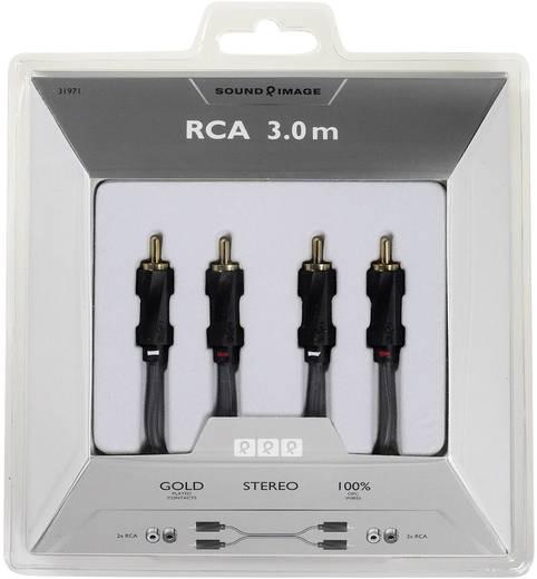 RCA audio csatlakozókábel, 2 x RCA dugó – 2 x RCA dugó, 3 m, fekete, aranyozott, Sound & Image