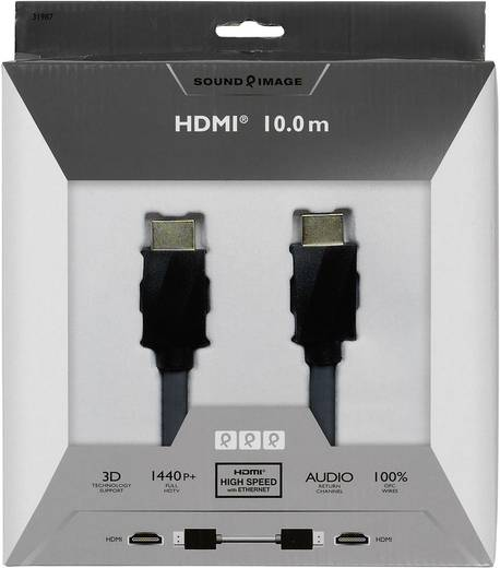 HDMI csatlakozókábel [1x HDMI dugó 1x HDMI dugó] 10 m fekete Sound & Image