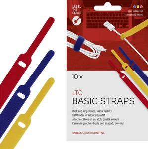 Tépőzáras kábelkötöző, velúr, 170x14 mm, sárga/kék/piros, 10 db (LTC 1130) Label the Cable