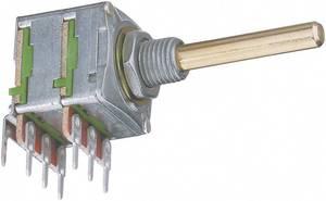 Forgó potméter, sztereo, 0,2 W 10 kΩ Potentiometer Service GmbH 4005 16T W4B8L30 10KLIN (4005) Potentiometer Service
