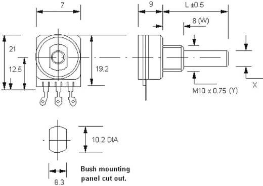Forgó potméter, mono 0,12 W 250 kΩ Potentiometer Service 7252 LOG