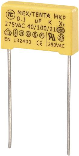 MKP kondenzátor X2, 0,1 µF, 275 V/AC, ±10 %, 18 x 5 x 11 mm, raszter: 15 mm